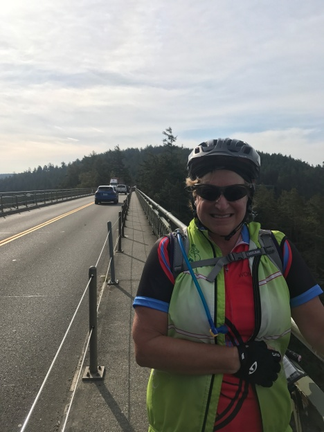 Looking scared on Deception Pass Bridge
